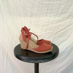 Coral Espadrille Suede Wedges